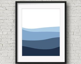 Printable Wall Art, Downloadable Art, Navy Art, Blue Art Minimalist Print, Modern Decor, Art Printable, Abstract Art, Nautical Decor