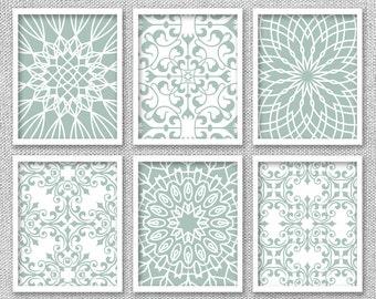 Printable Art, Printable Art Set, Bedroom Wall Art, Seafoam Green Art, Bedroom  Wall Decor, Green Wall Decor, Set Of 6 Prints, Art Print Set