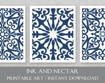 Navy Printable Art Set Of 3 Prints Square Prints Printable