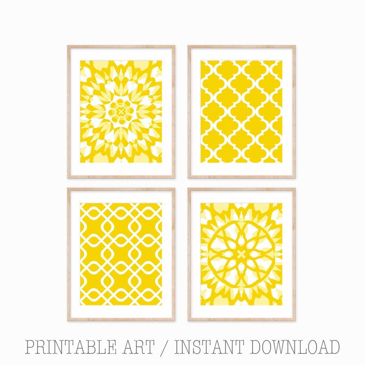 Printable Wall Art Yellow Wall Art Printable Art Set   Etsy