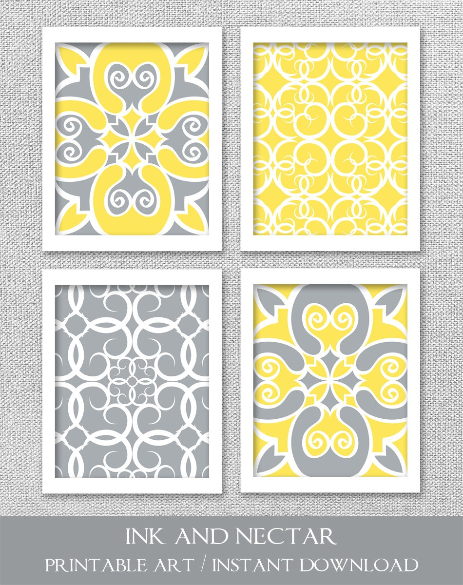 Printable Art INSTANT DOWNLOAD Yellow and Gray Art 8x10 | Etsy