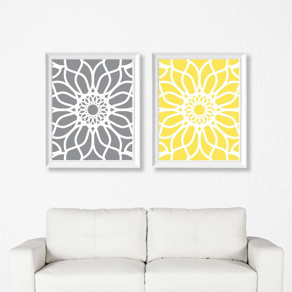 Printable Art Yellow and Gray Art Set of 2 Prints Printable | Etsy