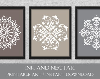 Printable Art, Set of 3 Prints, Bedroom Art, Grey Art, Taupe Art, Printable Wall Art, INSTANT DOWNLOAD Art, Wall Decor, Office Art