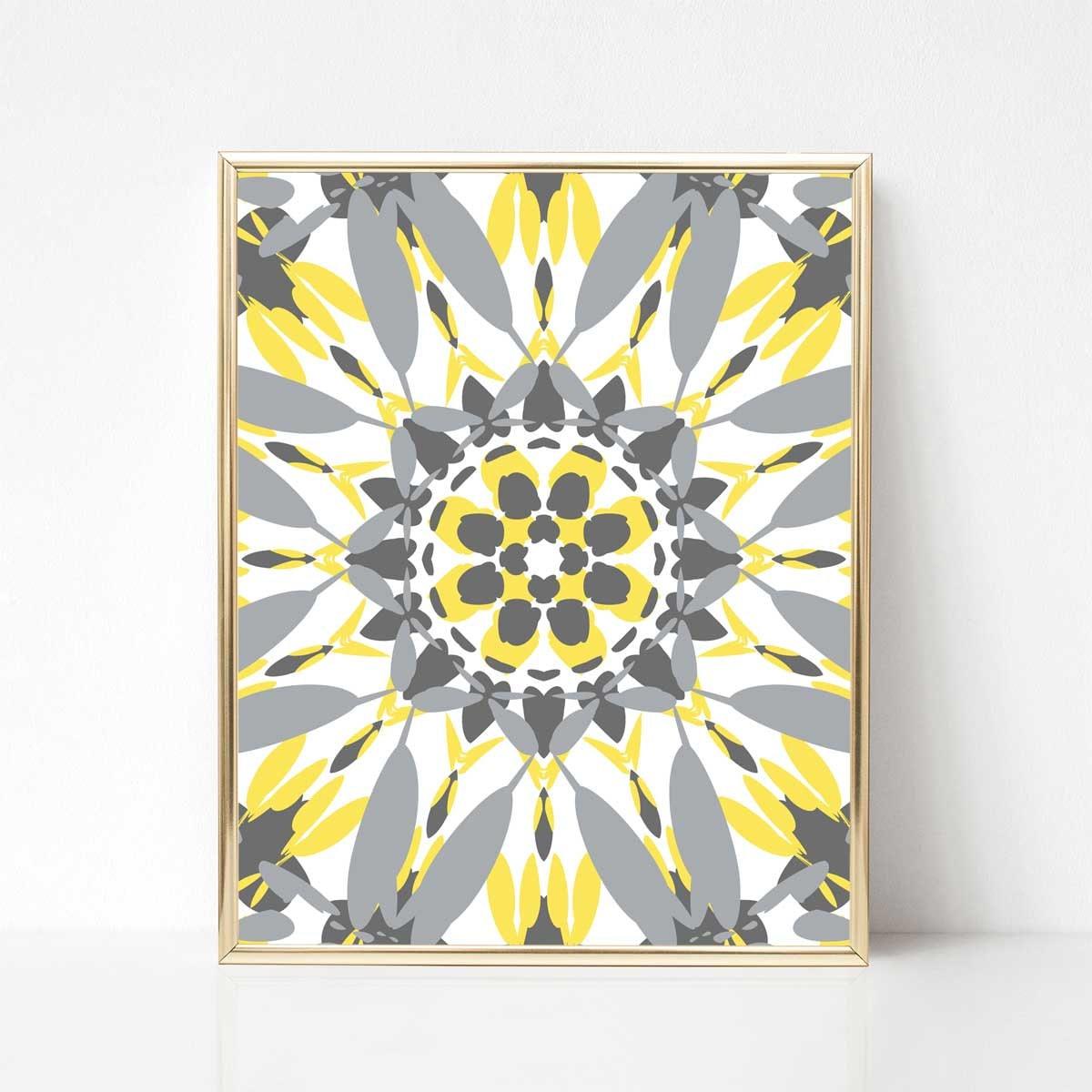Printable Art Printable Mandala Art 16x20 Print Yellow and | Etsy