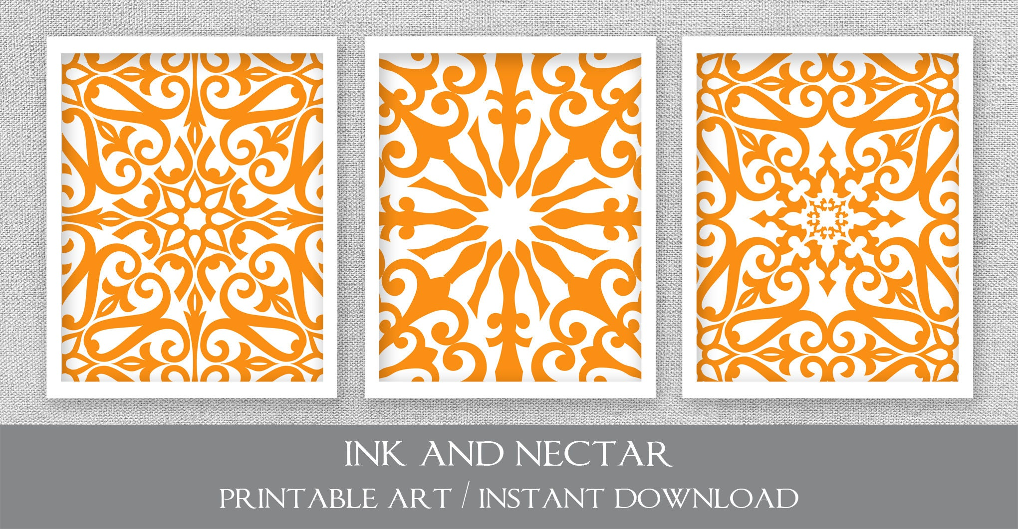 Orange Wall Art Printable Art Set of 3 Prints Printable | Etsy