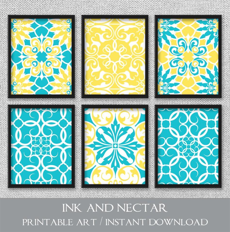 Printable Art Set of 6 Prints Printable Wall Art Turquoise | Etsy