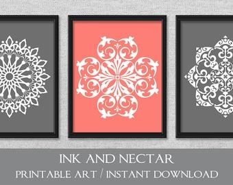 Printable Art, Set of 3 Prints, Bedroom Art, Coral Art, Gray Art, Printable Wall Art, INSTANT DOWNLOAD Art, Wall Decor, Set of 3 Wall Art
