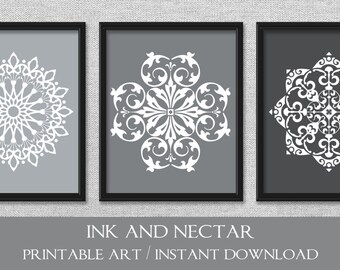 Printable Art, Gray Art, Set of 3 Prints, Bedroom Art, Grey Art, Printable Wall Art, INSTANT DOWNLOAD Art, Wall Decor, Office Art
