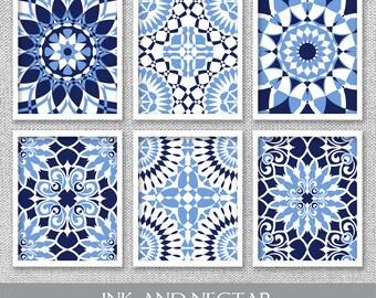 Printable Art, Set of 6 Prints, Printable Wall Art, Navy Art, Blue Art, Printable Artwork, Printable Wall Decor, Bedroom Art, Art Prints