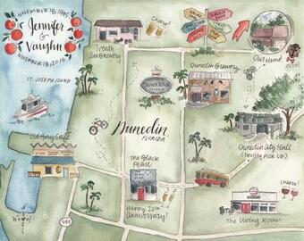 Custom Wedding Map Watercolor