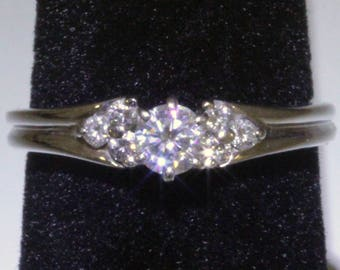 REDUCED! 14k White gold .37 carat diamond engagement ring with side diamonds. 2.7 gms.