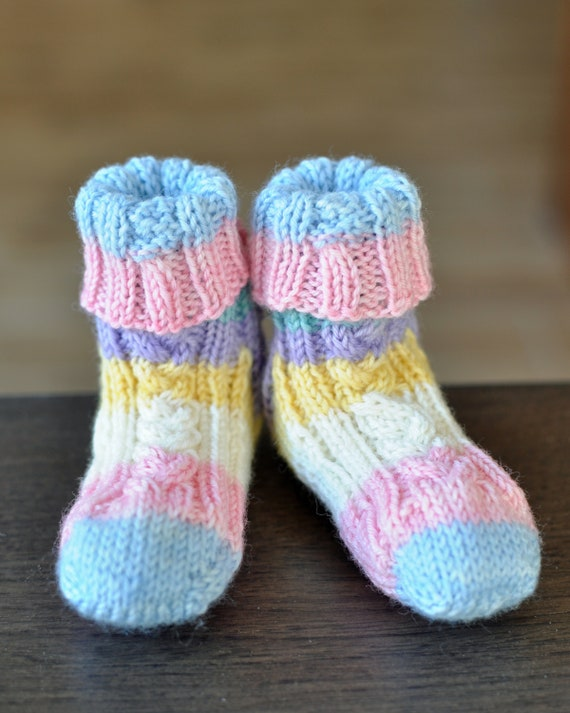 Knitting Pattern Cute Cable Baby Socks Etsy