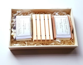 Soap Box Gift Set, 2 Natural handcrafted Vegan Soaps & Wooden Soap Dish, Handmade, Occasion, Pick your Soaps