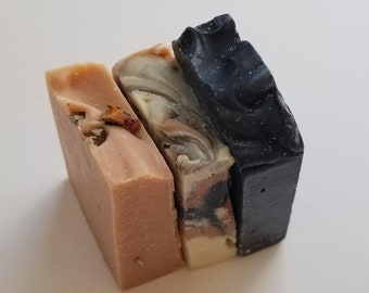 Pick any 3 Natural Travel size Soaps, All Vegan, Handcrafted, Essential Oils only, Palm Oil Free, Chemical free, Moisturizing, Cleansing