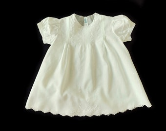 Vintage 9 Months  Hand Stitched Pale Yellow Embroidered Cotton Batiste Baby Dress 663536772