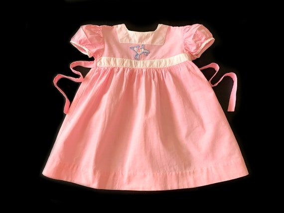 Baby Girls Handmade Pink Calico Dress with Short Puff Sleeves and Cotton Batiste Slip Size Estimate 6-12 Months