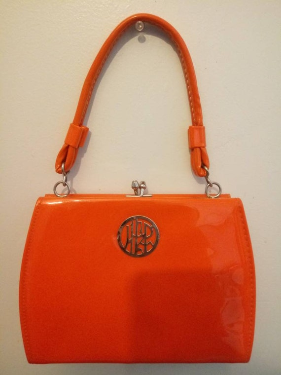 Mid Century, Vintage, 1960s, Orange, Patent Leathe