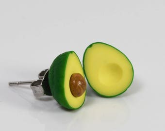 Avacado Stud Earrings /  Tiny Food Fruit Jewelry