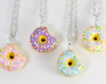 Sprinkle Donut Necklace - Handmade from polymer clay