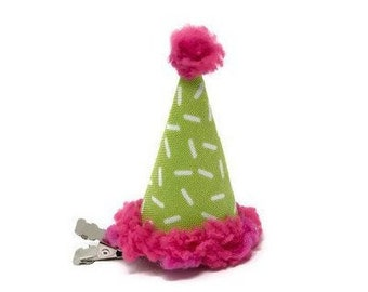 Miniature Clip On Pink And Green Sprinkles Birthday Hat Party Hair Donut Accessories Candy Lover