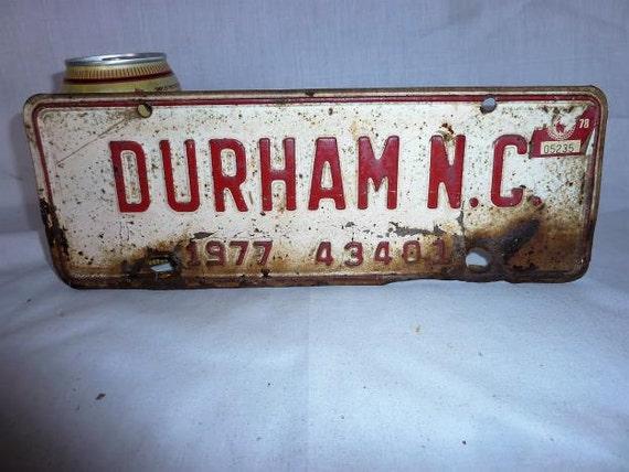 Vintage 1977 Durham North Carolina City Tax License Plate Etsy