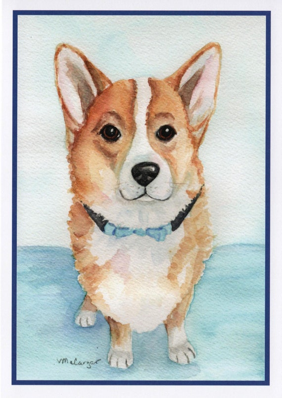 Birthday Card Of Corgi Dog In Bowtie Pet Birthday Cards Etsy