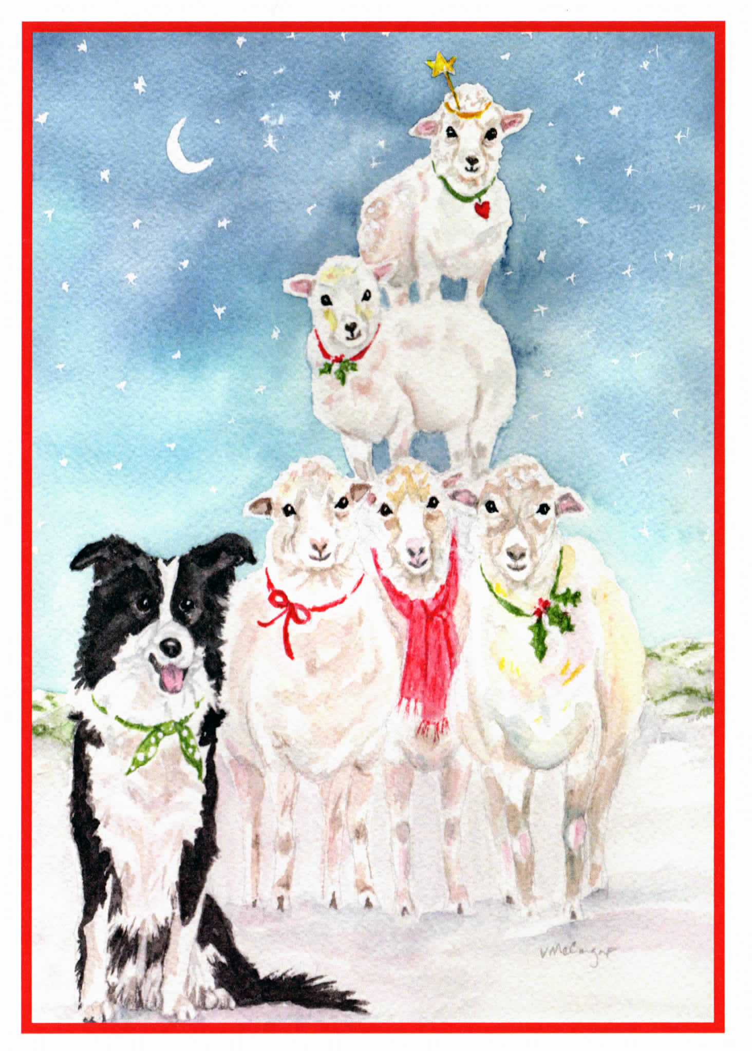 Border Collie and Sheep Christmas Card. Pet Holiday Card. | Etsy