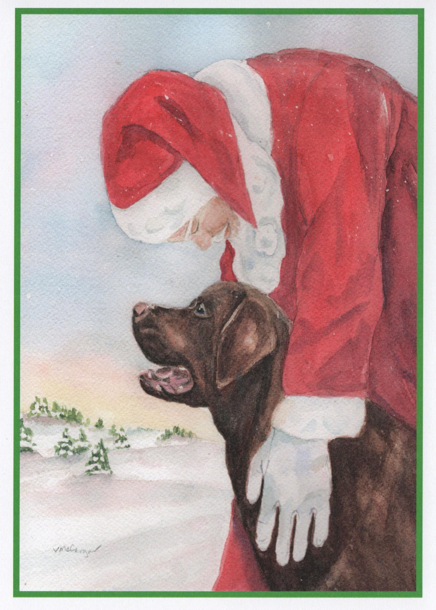 Chocolate Labrador Dog Christmas Card. Santa and Chocolate | Etsy