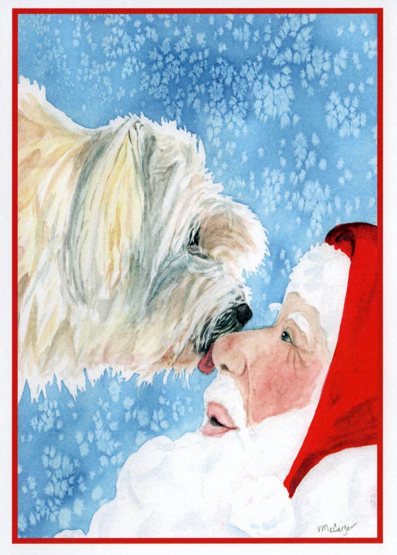 Poodle-Spaniel Mixed Breed Dog and Santa Christmas Card. Pet | Etsy
