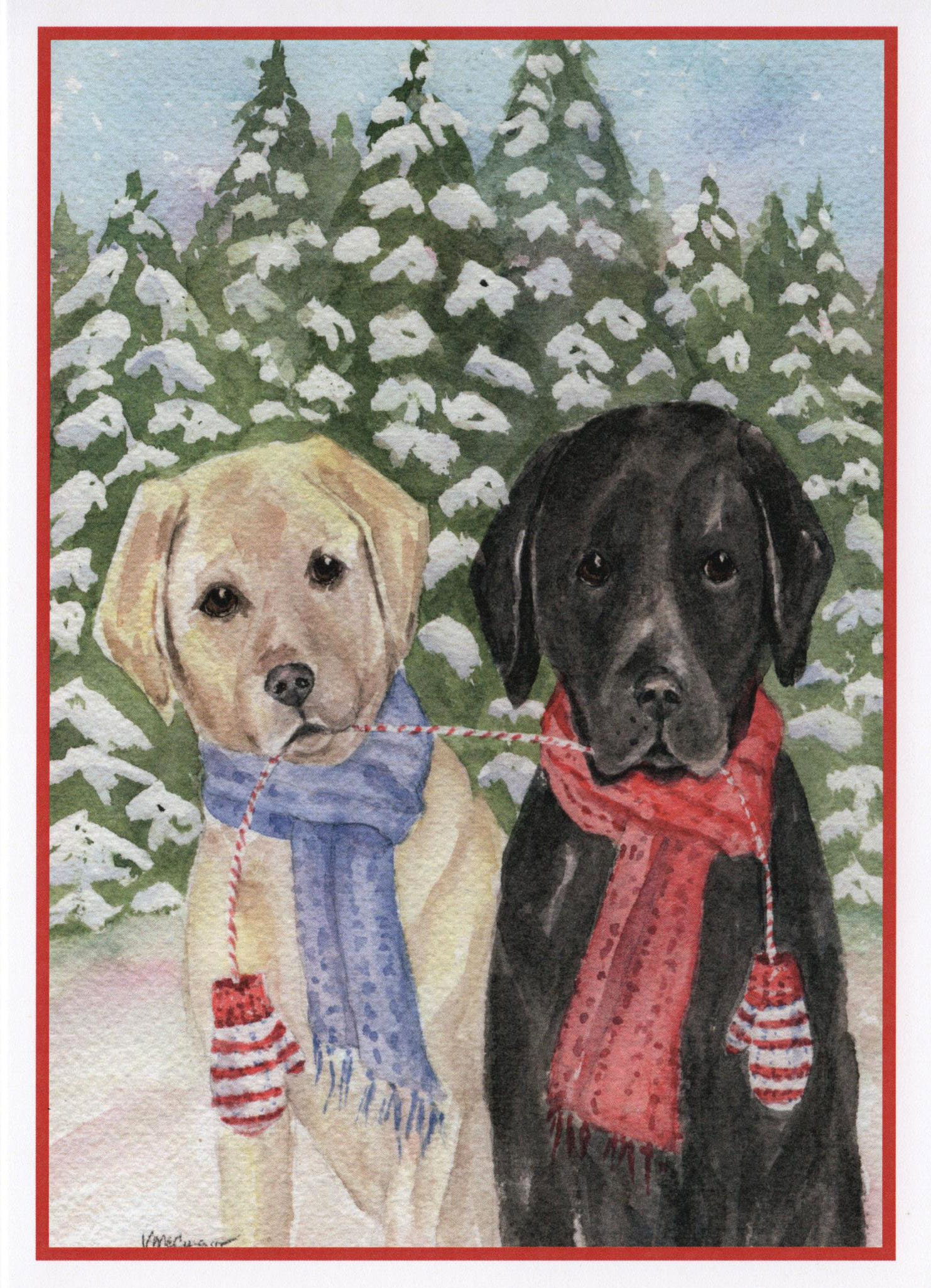 Christmas Labrador Dogs and Mittens Card. Yellow and Black | Etsy