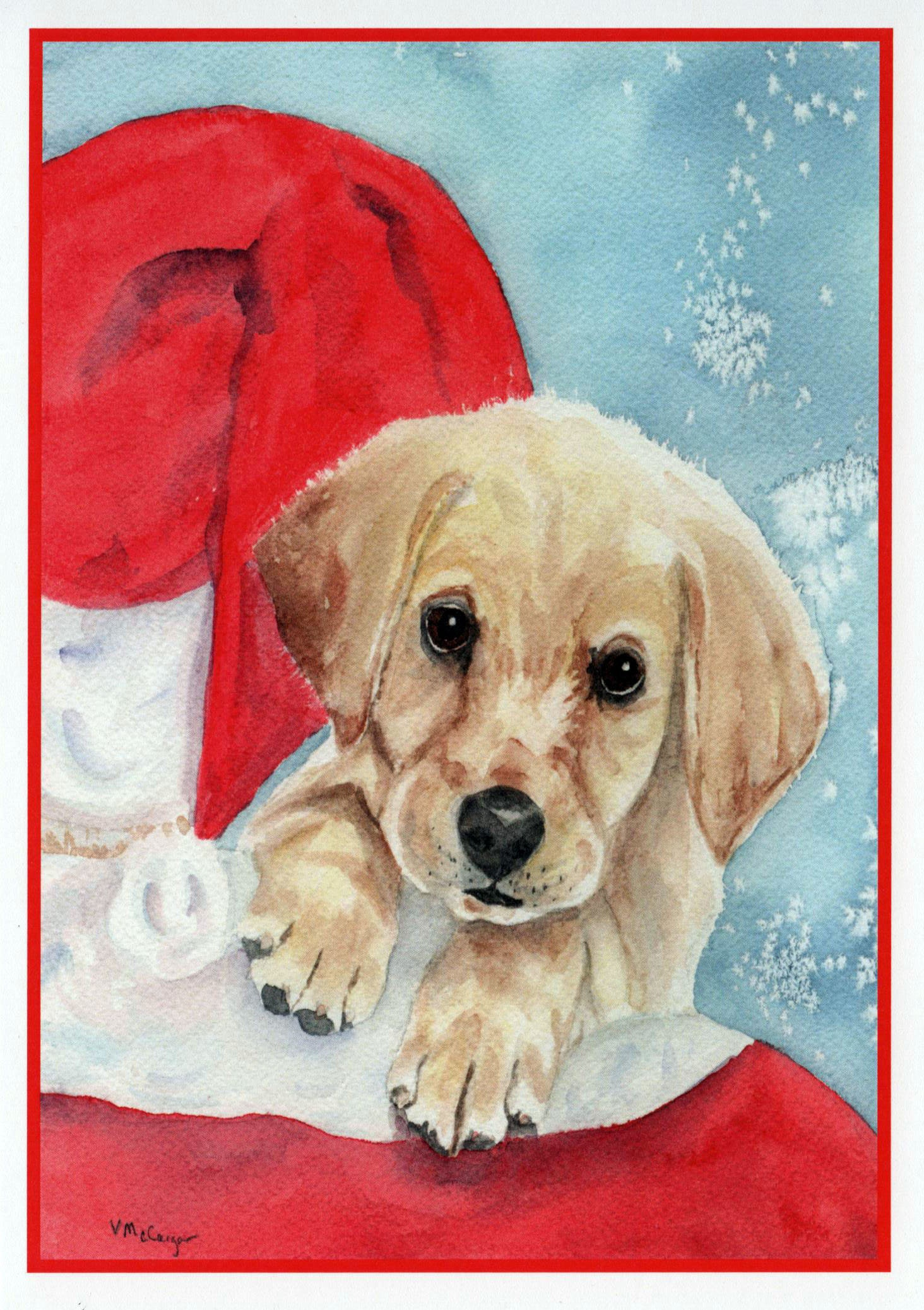 Ten Pack Yellow Labrador Dog and Santa Christmas Cards. Pet | Etsy