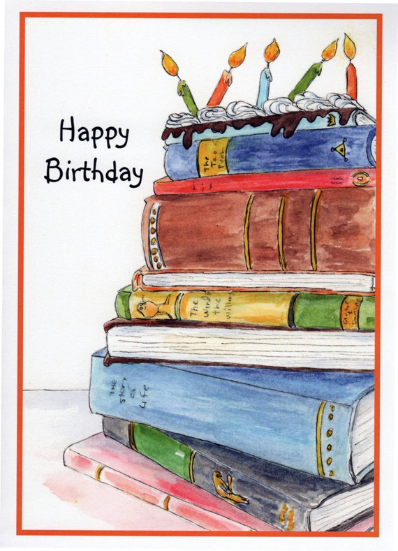Fine Birthday Book Cake Stack Of Books Candles Birthday Cake Etsy Personalised Birthday Cards Xaembasilily Jamesorg