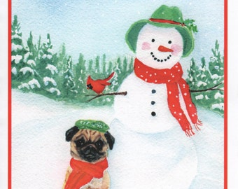 Christmas Pug, Snowman, and Cardinal Card.  5x7 recycled card stock.  Inside of card:  Joyous Holiday Wishes!  Merry Christmas