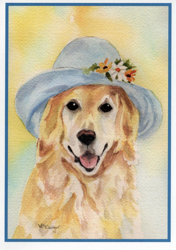 Golden Retriever Dog Birthday Card Pet Watercolor