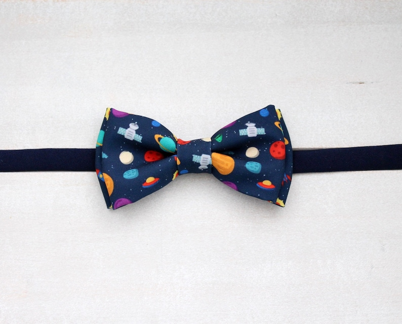 Gift for him Christmas gift Cosmos scientist bow tie Colourful bow tie Graduation bow tie Playful space pre-tied bow tie