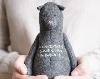 Wool Felt Bear Stuffed Animal 9 Inches, Stuffed Bear, Personalized Gift For Daddy, Woodland Animals, Handmade Toy, Ready To Ship