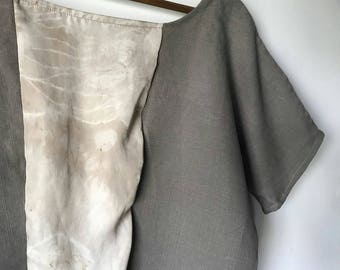 On Sale. Eco-printed Top, Silk and Linen, Bohemian, Oversized Top
