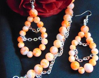 Burst of Orange Chandelier Earrings and Bracelet