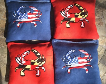 8 Embroidered Custom logo Cornhole/Bean Bags~Triple Stitched- USA