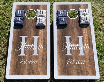 Custom Wedding Cornhole Board package, Personalized Monogramed Cornhole Boards, Outdoor Wedding, RESIN FILLED, Wedding Gift
