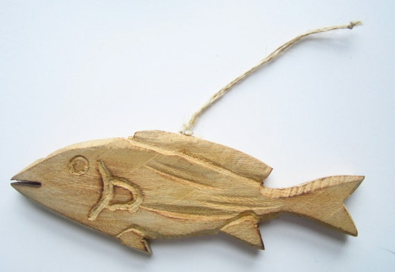 image 0 - Hand Carved Wooden Fish-Nautical Christmas Ornaments-Wooden Etsy