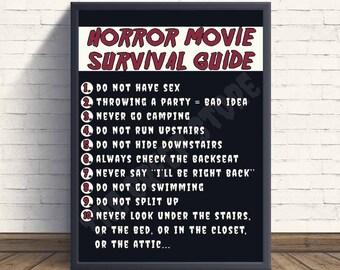 Horror Movie Survival Guide Print | Digital file 8x10 | Horror Movie Printable Wall Art / Halloween Art / Scary Movies