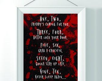 Freddy Krueger Song Print | Digital file 8x10 | Nightmare on Elm Street | Horror Movie Printable Wall Art / Halloween Art / Scary Movies