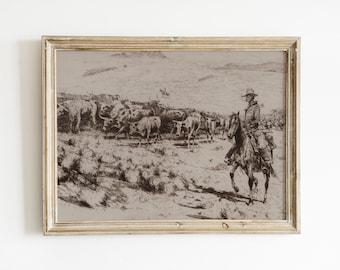 cowboy with cattle | digital vintage drawing | printable southwestern art | sepia desert landscape | desert boho art | wild west