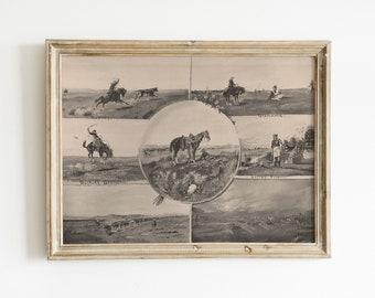 old west cowboys and horses | digital vintage drawing | printable southwestern art | black & white sepia desert landscape | desert boho art