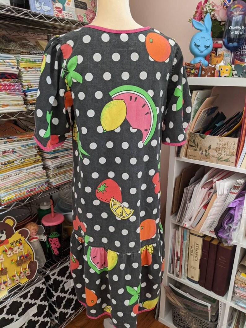 Polka Dot and Fruity Dress Caftan  80s loungewear