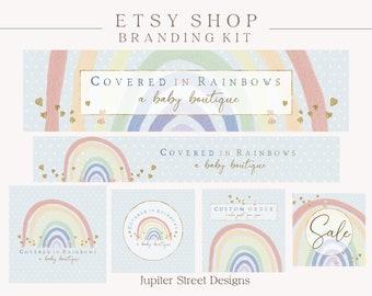 Rainbow Etsy Shop Banner Set, Rainbow Etsy Cover Photo, Etsy Branding Kit, Etsy Shop Set, Etsy Branding Set, Branding Package, Logo Design
