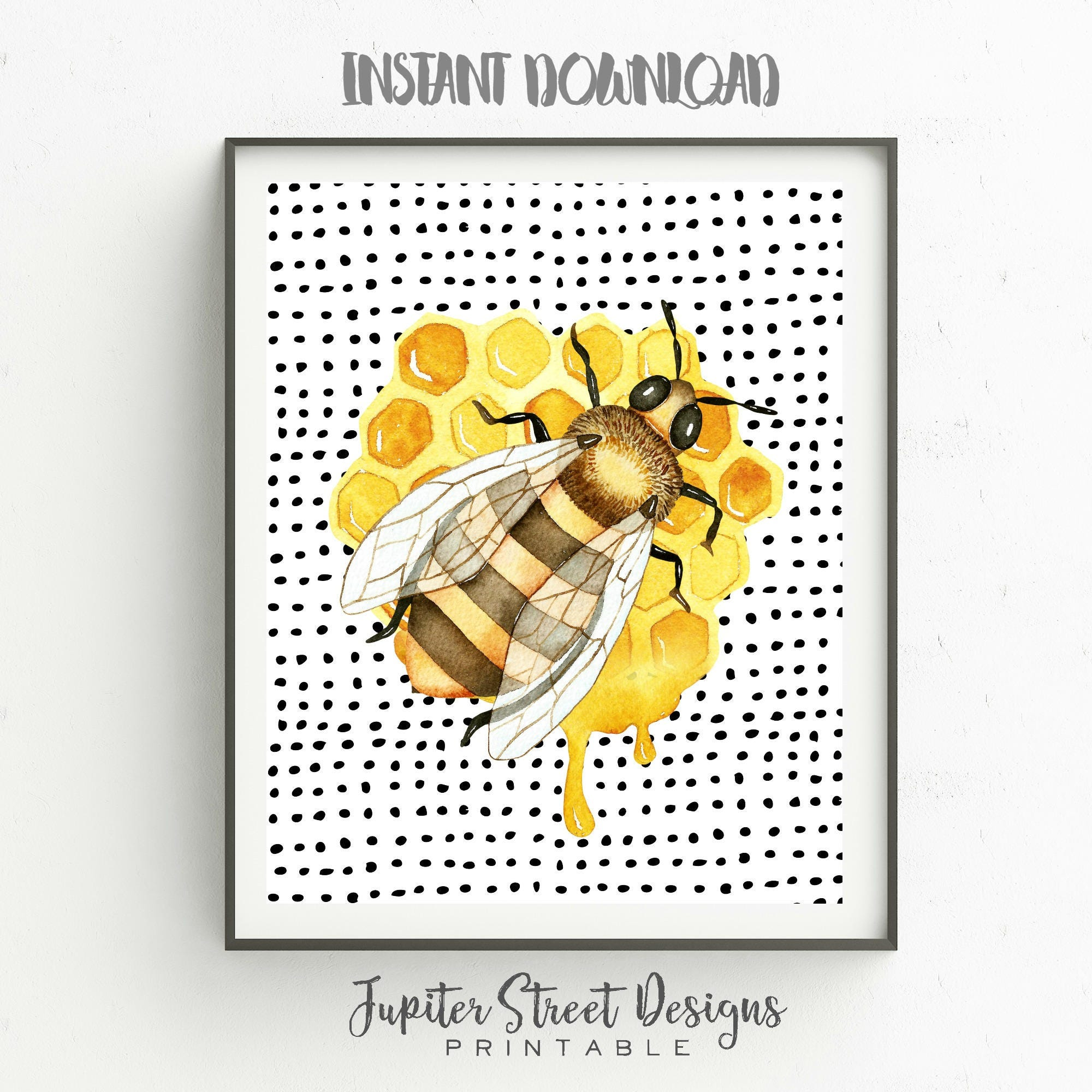 Bee Art-Bumble Bee Wall Print-8 x 10 INSTANT DOWNLOAD-Home | Etsy