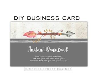 Business Card-DIY Business Card-Wood Business Card-Instant Download