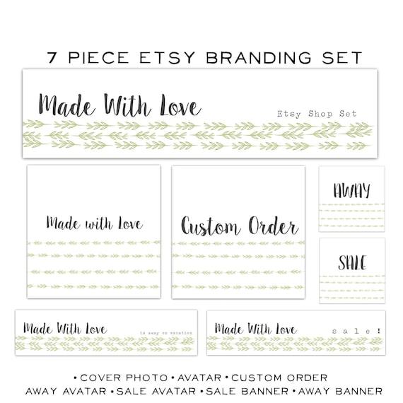 Etsy Banner Set-7 Piece premade Set-Nature Banner Set- Minimal Banner Set-Made with Love